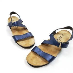 Naot Pamela Metallic Blue Sandals SZ 39